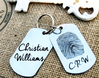 Fingerprint Signature Key Chain, Stainless Steel Dog Tag, Fingerprint Jewelry, thumbprint necklace, Hand crafted fingerprint gifts, ID