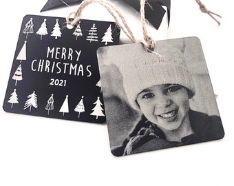 """Your Personalized Photo Ornament -2.5"""" Square Engraved Metal Christmas Ornaments- Use Your Own Photo, Your Handwriting, or Custom Text- 2021"""