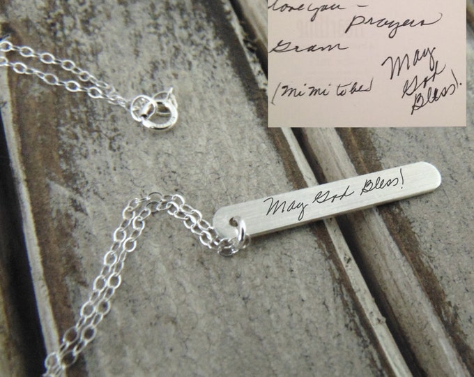 Handwritten Silver Vertical Bar Necklace - YOUR HANDWRITING - Perfect for Pairing - Sterling Silver, Anniversary - Perfect Christmas Gift