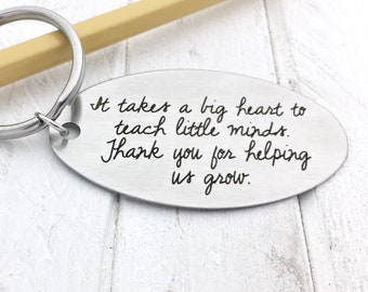 Teacher's Gift Key Chain, Your Actual Handwriting or Font - front and/or back options, Personalized Custom Key Chain, Stainless Steel