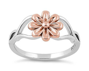 4eb979471 925 Sterling Silver Daisy Ring, Sterling Silver Daisy Ring, 925 Sterling  Silver Ring, 14k Rose Gold Daisy Ring, 925 Sterling Silver Jewelry