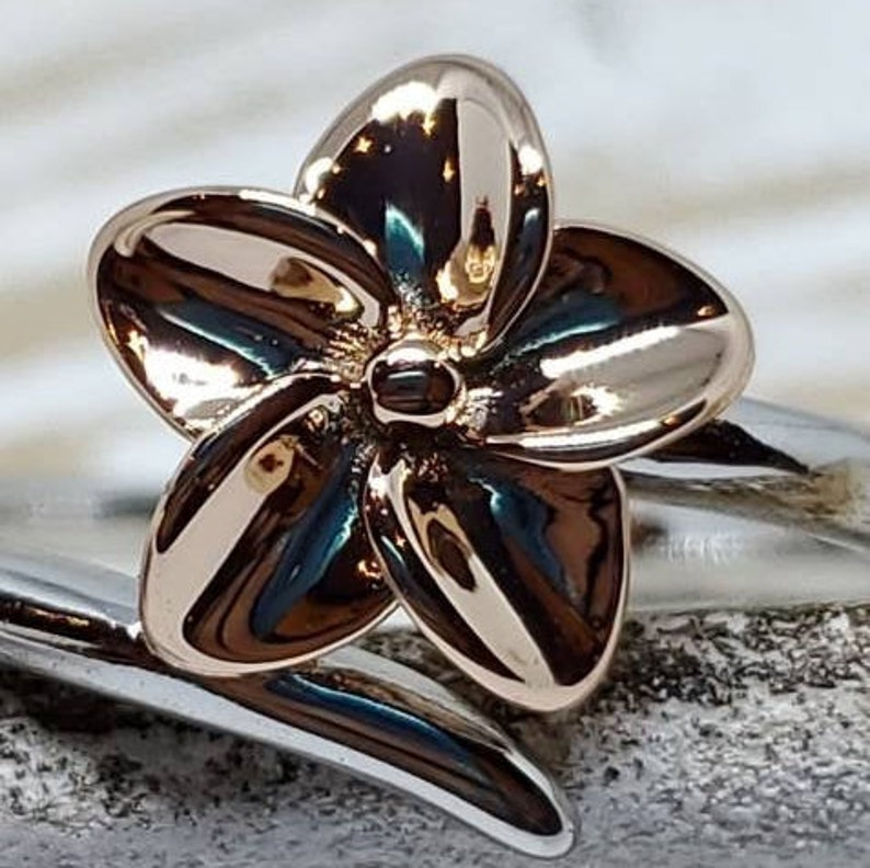 Two Tone Ring Plumeria Ring Silver 925 Sterling Silver Ring Sterling Silver Ring Floral Ring Silver Rose Gold Ring Flower Ring Silver