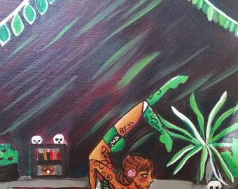 Poison Ivy's Training Room - Circus Contortionist Original Painting