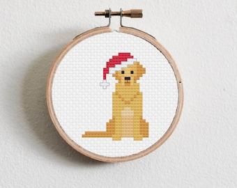 Christmas Golden Retriever Cross Stitch Pattern