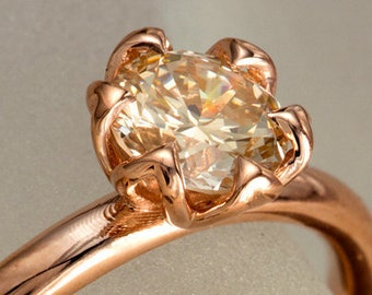 Champagne Diamond Engagement Ring, Tulip Solitaire Ring in 14k rose gold