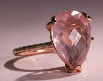Pink Rose Quartz Rose Gold Ring, Pear Cut Engagement Ring, Rose Quartz Tulip Solitaire Ring