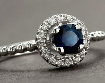 Blue Sapphire Engagement Ring, Tulip Halo Flower Ring, Solid 14k  White Gold