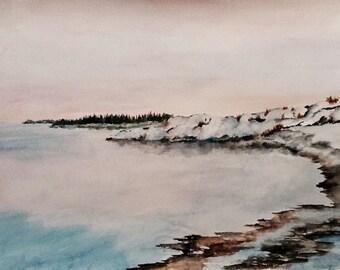 Snow on the Bay - Original Watercolor