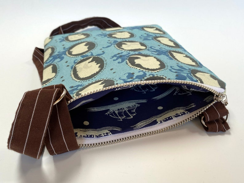 Small Crossbody Bag with Black and White Cameo Pattern on a Blue floral Background 8-12 x 7 Crossbody purse with zipper closure