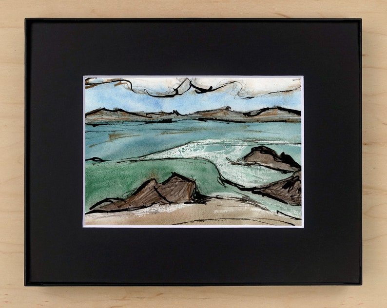 Seascape Print Original Painting with Goache Pen and Ink