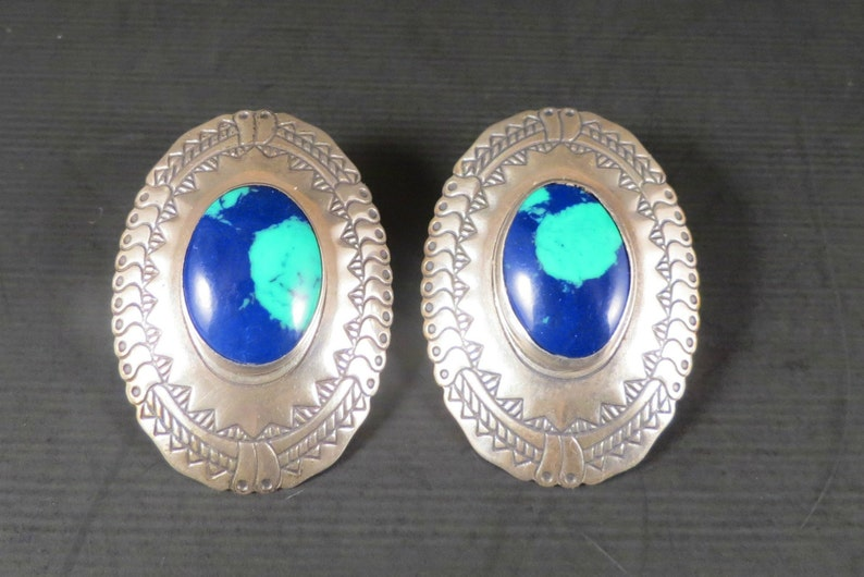 Birthday Gift Pierced Earrings Gift for Mom Sterling Silver Southwest Style Sterling and Azurite 1980s Vintage Southwest Earrings