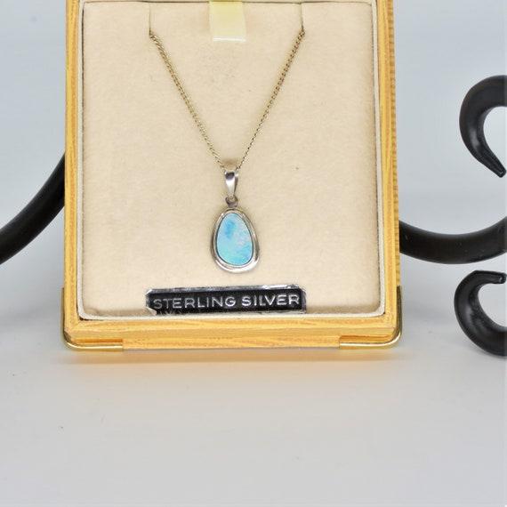 Fabulous sterling silver opal vintage necklace Australian dark blue opal doublets grey mother of pearl flower lavalier dangle style