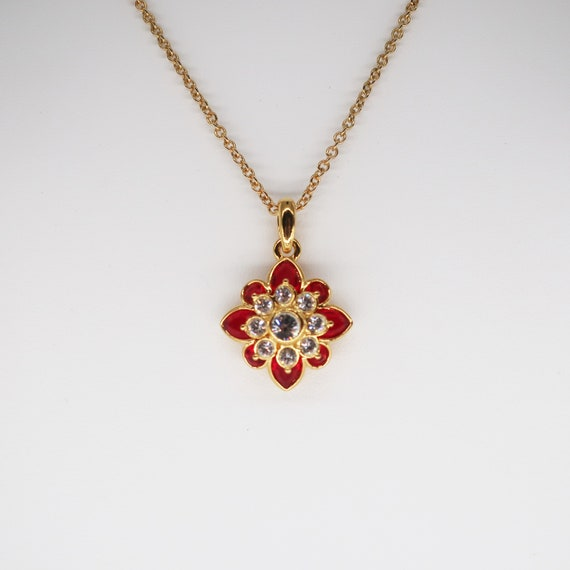 Joan Rivers Necklace, Enamel and Crystal Necklace,