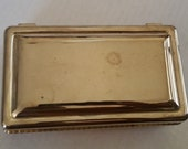 Vintage SILVER JEWELRY BOX International Silver Company Silver Plate Red Lining Hinged Heavy Mirror Insert Mid Century Modern Art Deco