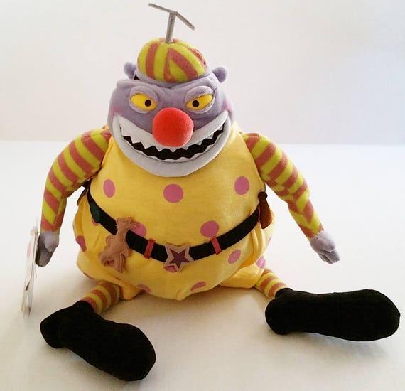 Nightmare Before Christmas Clown.Nightmare Before Christmas Clown Plush 1993 Rare Pull Away Mask Face Tim Burton Halloween Movie Jack Skellington Disney Store Exclusive