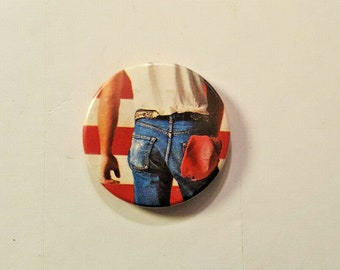 """BRUCE SPRINGSTEEN Born In The USA Pinback Vintage 1984 Button Rare 1.5"""" Vintage Button Badge Collectable Classic Rock New Jersey Legend"""