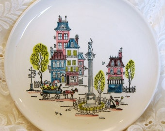 "Vintage Metlox Poppytrail /Parisian Street Scene /White 10.25 "" Plate /1956"