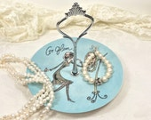 Small Whimsical Vanity Tray, Dresser Tray, Jewelry Holder, Ring Dish - Robin 39 s Egg Blue - Mom, Friend Gift