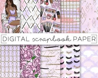 pink lips hearts banner valentines day digital scrapbook paper etsy