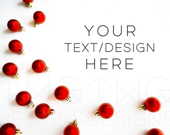 Download Free Christmas Red Ball Ornaments Styled Stock Photography / Product Styling / Web Design Background / Mock-Up Marketing Blog Photo High Res File PSD Template