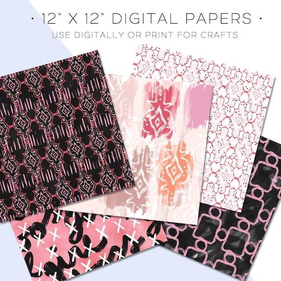 Pink /& Peach Abstract Painterly Print Digital Scrapbook Paper Watercolor GirlBoss Blush Floral Hand Drawn Brush Stroke Art Paint Background