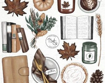Fall Dinner and Books Illustrated Clipart Digital Stickers Icons Cozy Autumn Leaves Flowers Food Candles Journal Planner Graphics Bundle