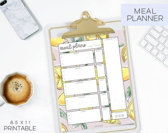 Planner Printables Undated Meal Prep Recipe Card Calendar To Do List Monthly Weekly Daily Planning Printable Stickers Watercolor Lemons