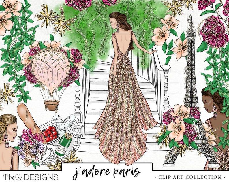 943bc2bb31b1 Parigi moda floreale ragazza Clip Art acquerello PNG Clipart