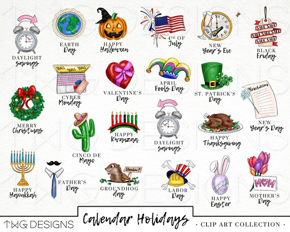 Calendar Holiday Icons Clip Art Clipart Watercolor Hand Drawn