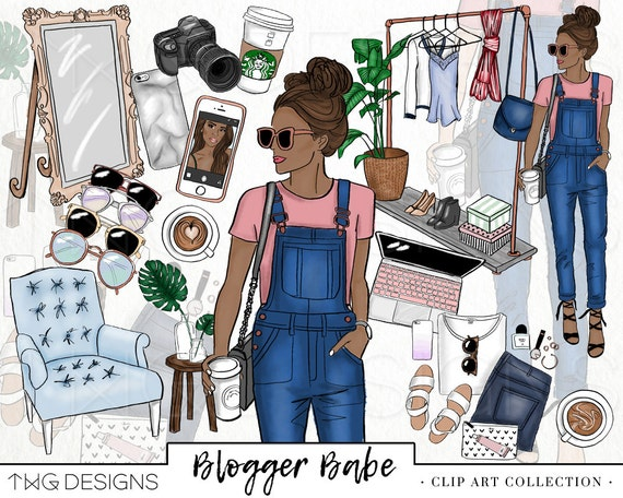 Fashion Girl Clip Art Glitter Watercolor Clipart Png Trendy Etsy