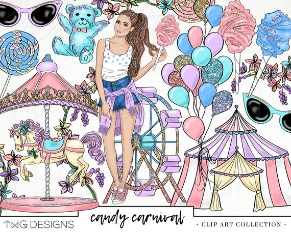 carnival candy fashion girl clip art watercolor clipart png etsy