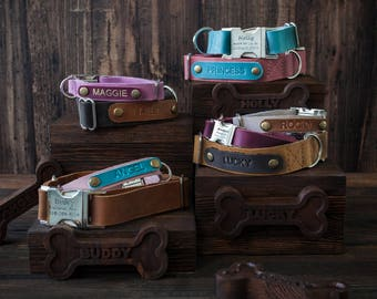 Leather dog collar, Personalized dog collar, dog collar, leather, FREE MACHINE ENGRV buckle, personalized leather dog collar personalized