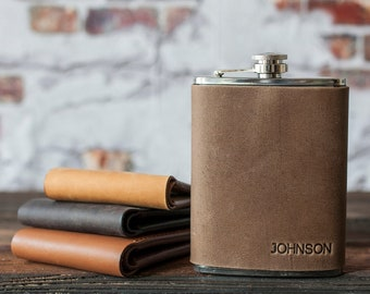 Hip flask personalized, Leather flask, personalized flask, groomsmen flask, engraved flask (hot stamped), 316 stainless steel
