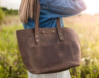 Leather tote bag, Personalized tote bag, Personalized leather tote bags for women, Top grain leather handbag tote personalized (or not)