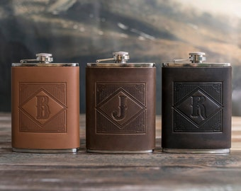 Personalized initial hip flask for men groomsmen gifts flask personalized groomsmen gift leather hip flask gift for him