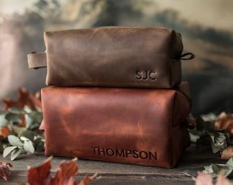 Personalized leather dopp kit for men, leather toiletry bag, groomsmen gift, mens dopp kit personalized mens toiletry bag large letters