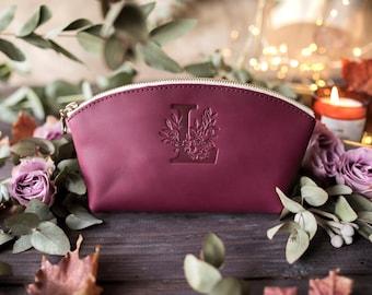 Сustom initial makeup bag Bridesmaid gift personalized leather custom bridesmaid gift initial makeup bag personalized with custom initial