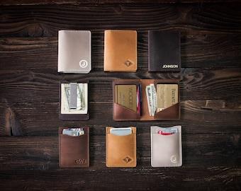 Money clip leather wallet, Slim leather wallet, Slim wallet, leather money clip, slim wallet, minimalist wallet, card wallet groomsmen gift