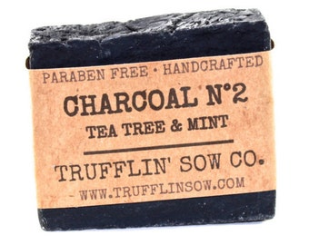 Activated Charcoal Soap Bar | Peppermint & Tea Tree Soap | Essential OIls Soap | Vegan Soap | All Natural Paraben Free | Great Face Soap