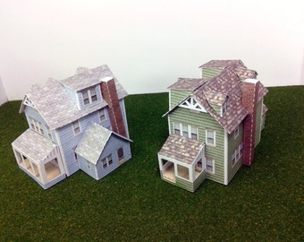Paper House Card Stock Model House N Scale or Z Scale For Diorama or Model Train - Two Gabled Houses