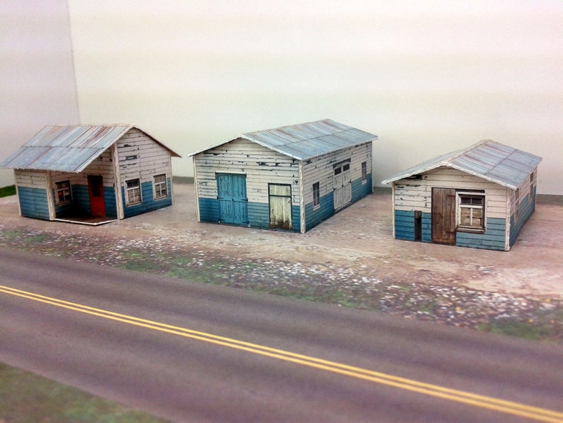 Paper Model Weathered Sheds Card Stock Kits - Paper Craft for Model Trains  or Diorama N/Z Scale - Model Railroad