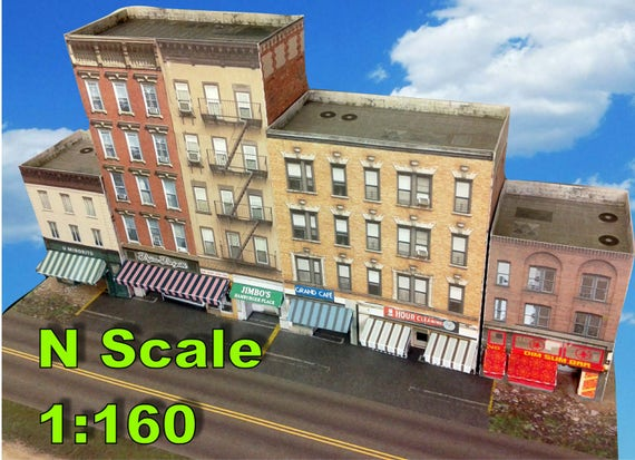 Paper Model Card Stock Building Downtown apartments with shops Cardstock  kit set - N or Z scale for Diorama or Model Train