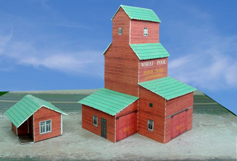 Paper Mmodel Card Stock Model Grain Elevator N Scale or Z Scale For Diorama  or Model Train