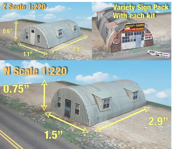 Paper Model Building Quonset Hut Card Stock Kits - Paper Craft for Model  Trains or Diorama N or Z Scale - Card Stock Model