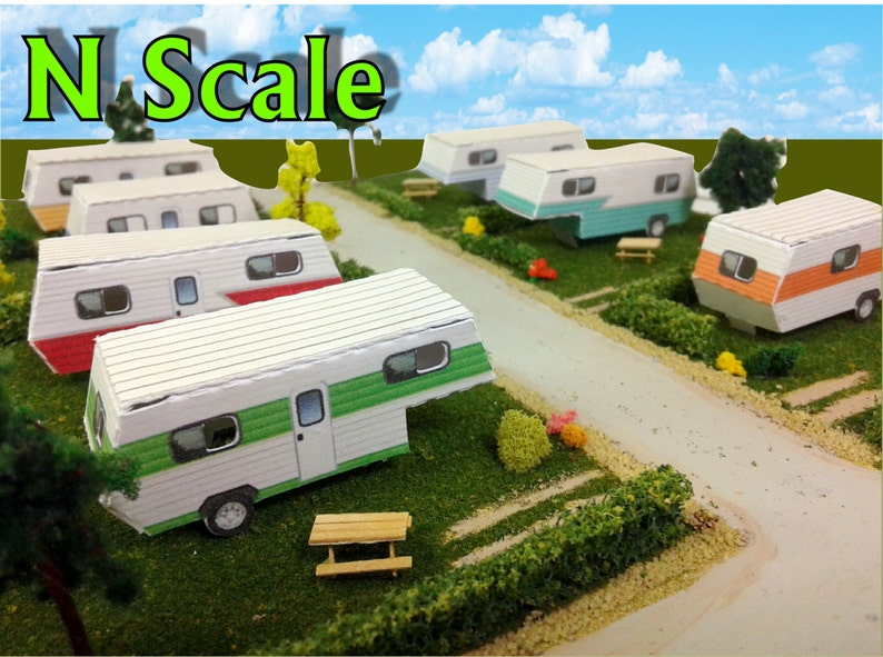 Paper Model Mobile Home Trailer Park Camper Homes Card Stock Kits - Paper  Craft for Model Trains or Diorama N/Z Scale