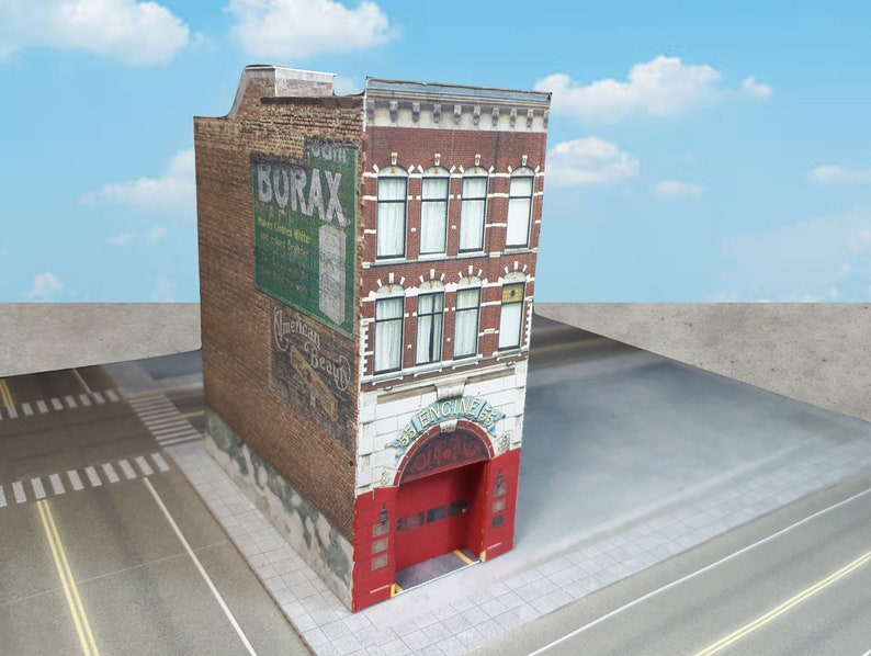 Paper Model Card Stock Building Fire Station