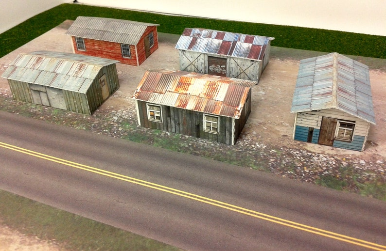 Paper Model Weathered Sheds Card Stock Kits - Paper Craft for Model Trains  or Diorama N/Z Scale