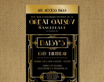 PRINTABLE |  Great Gatsby Birthday Invitation Ticket, Black and Gold, Personalized Printable Invitation, You Print