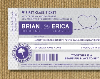PRINTABLE - Destination Wedding Invitation w/RSVP Postcard, Boarding Pass, Purple and Grey, Personalized Printable Invitation, You Print