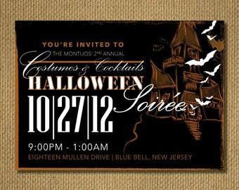 PRINTABLE   Halloween Party Invitation, Personalized Printable Invitation, You Print, 7x5